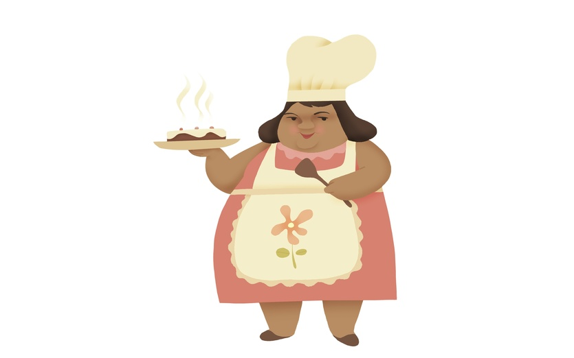 - aunt, cake, chef, cook, cooking, expert, fat