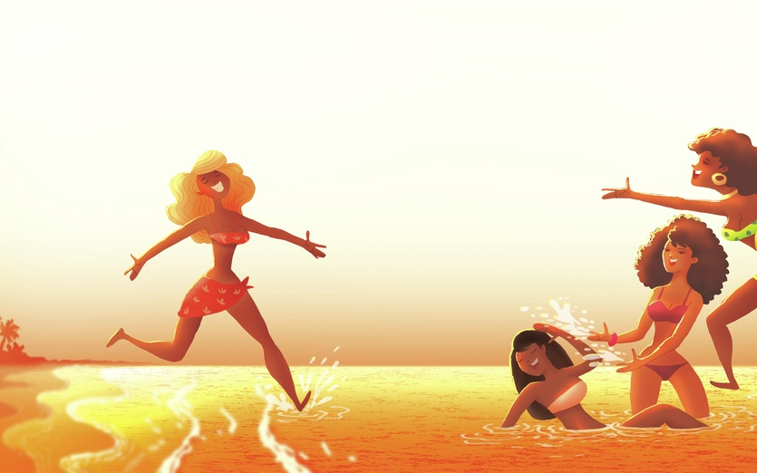 - beach, bright, fun, girls, holiday, ocean, orange
