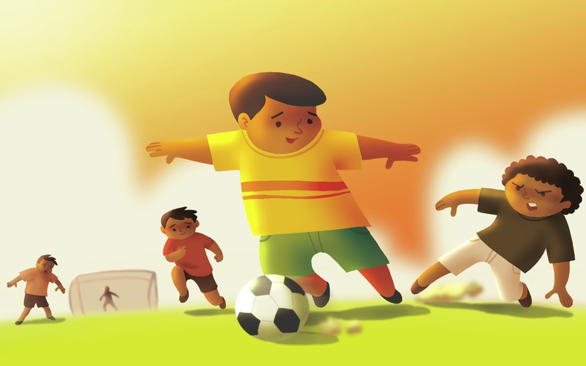 - adorable, ball, boy, brightcolored, brightcolors, brown, cartoon