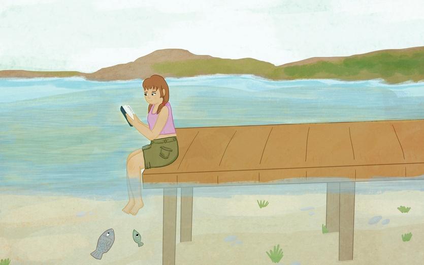 - art, beach, book, books, bookworm, calm, cold