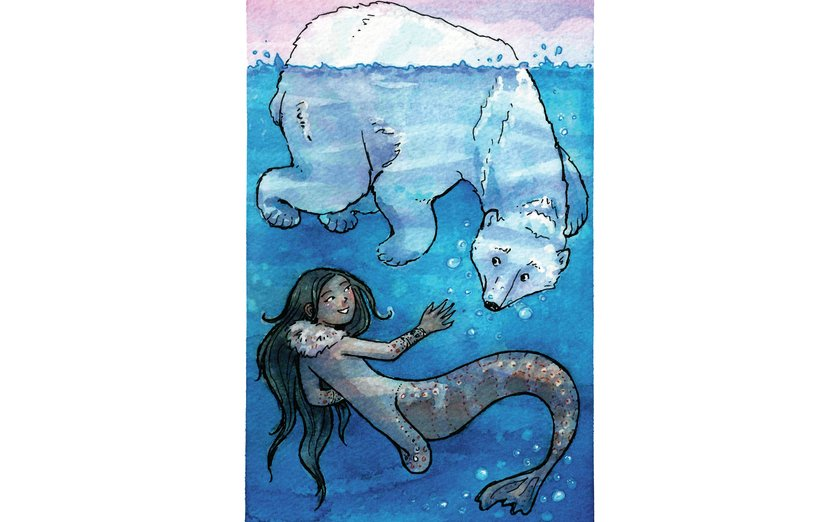 - arctic, bear, friends, mermaid, ocean, polar, sea