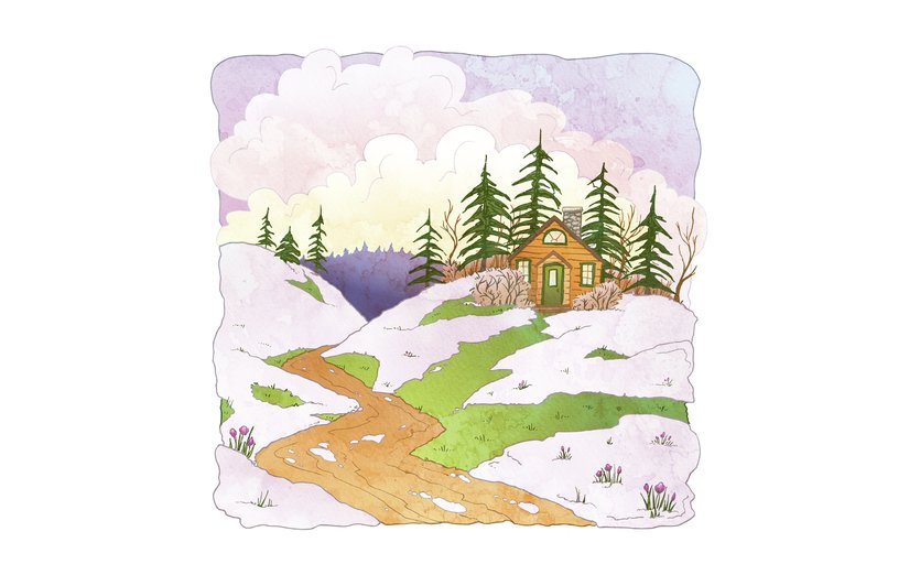 - cabin, clouds, flower, snow, spring, trees