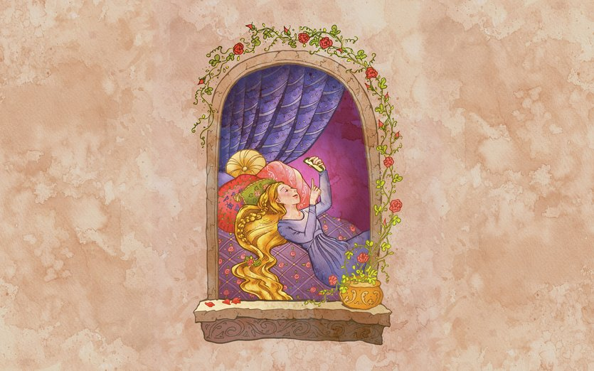 I think if Rapunzel had a smartphone she would be addicted to posting Instagram selfies. - fairytale, girl, hair, princess, rose, smartphone, window