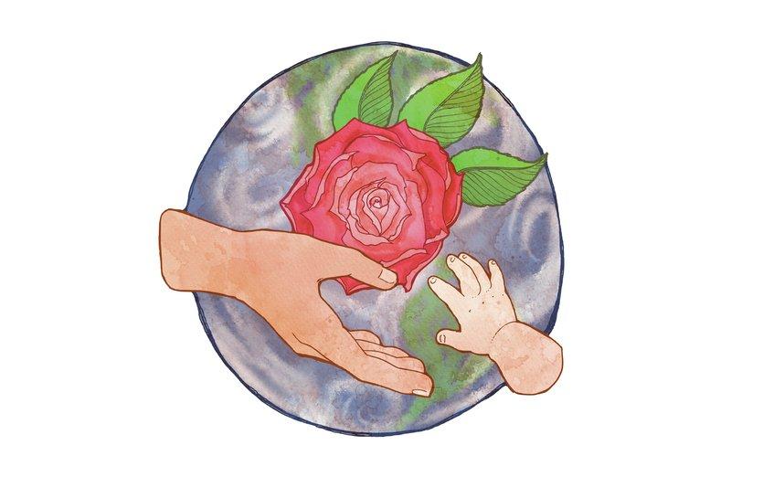 - baby, child, globe, hand, parent, rose, world