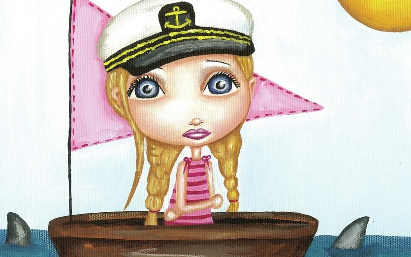 - adorable, blonde, blue, boat, brown, captain, cartoon