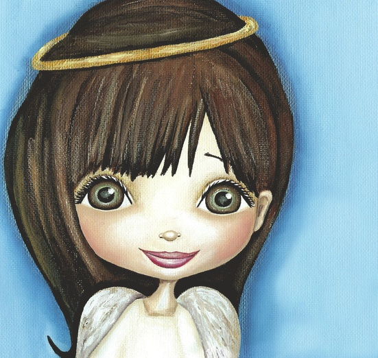 - adorable, angel, angelic, blue, brown, brunette, cartoon