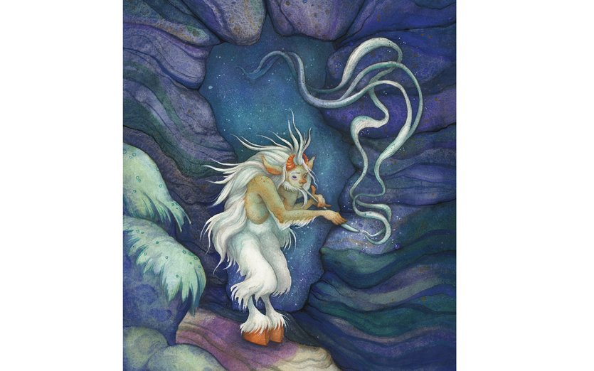 - blue, cave, fantasy, flute, goat, magic, magical