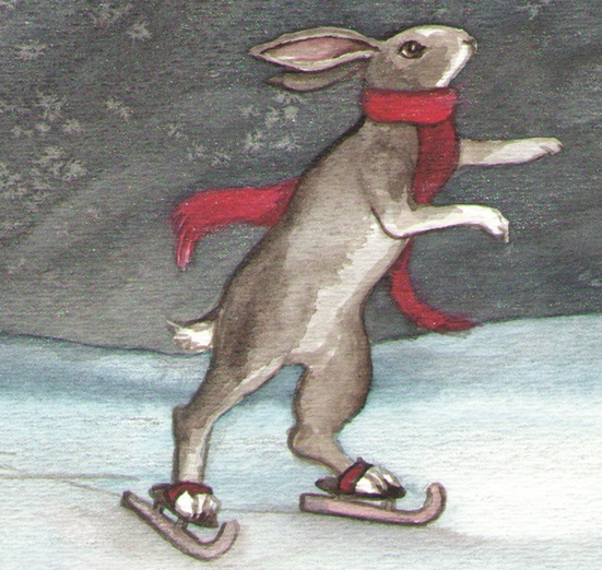- bunny, ice, rabbit, red, scarf, skate, skates