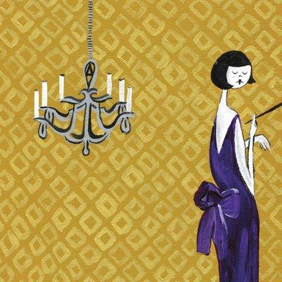 purple dress with chandelier