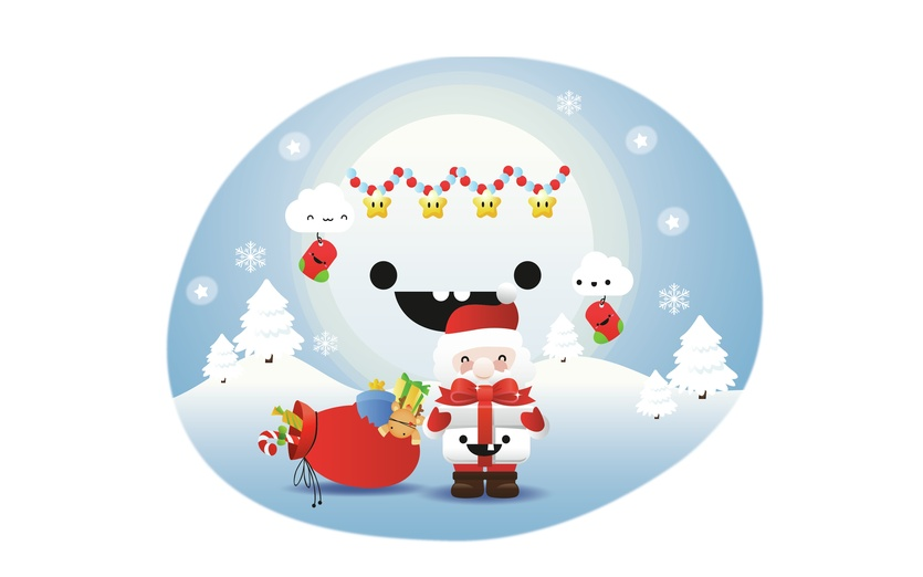 - christmas, cute, fun, kids, moon, presents, reindeer